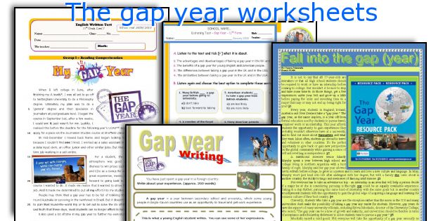 The gap year worksheets