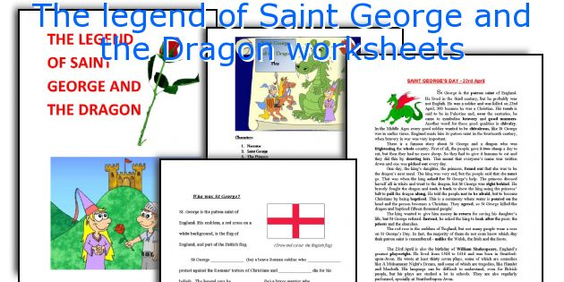 The legend of Saint George and the Dragon worksheets