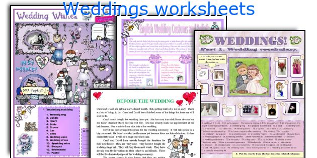 Weddings worksheets
