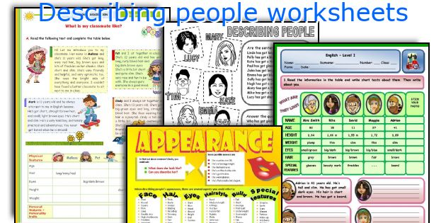 Describing people worksheets