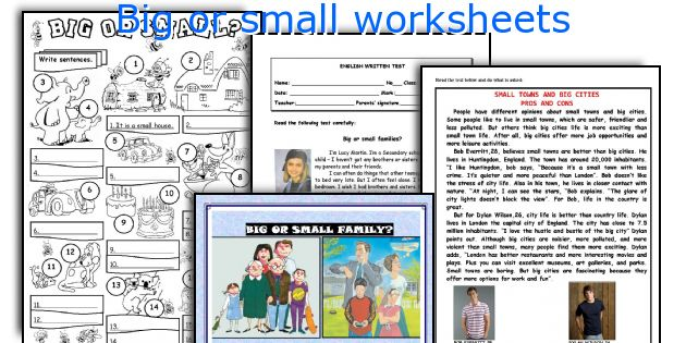 Big or small worksheets