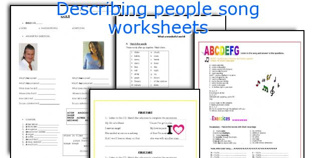 describing people song worksheets. Black Bedroom Furniture Sets. Home Design Ideas