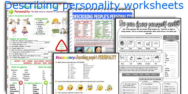 Describing personality worksheets