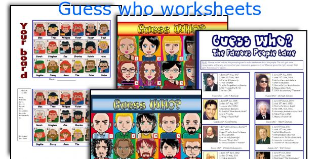 Guess who worksheets