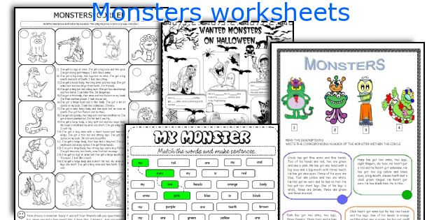 Monsters worksheets