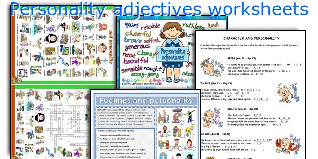 personality adjectives worksheets worksheets and activities for ...