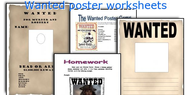 Wanted poster worksheets