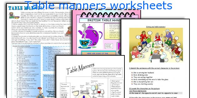 English teaching worksheets Table manners – Manners Worksheet