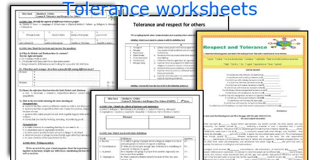 English teaching worksheets Tolerance – Worksheets on Respect