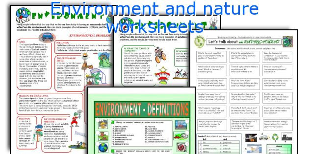 Environment and nature worksheets