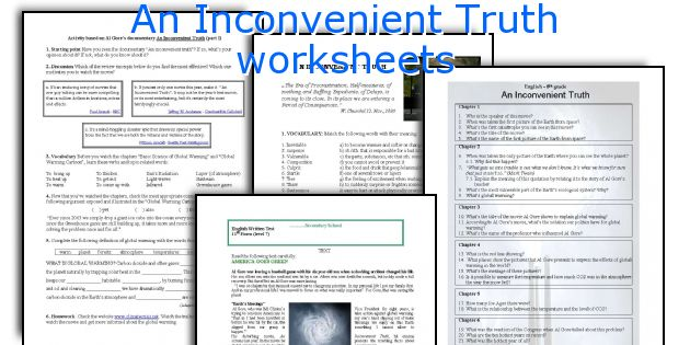 English teaching worksheets An Inconvenient Truth – Inconvenient Truth Worksheet