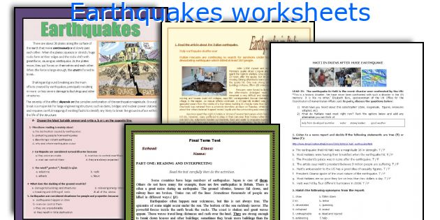 Earthquakes worksheets