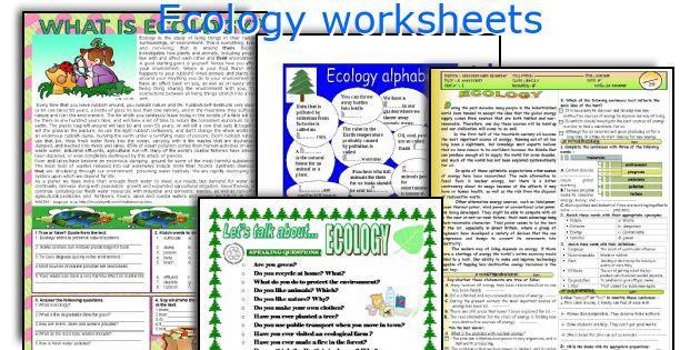 Ecology worksheets
