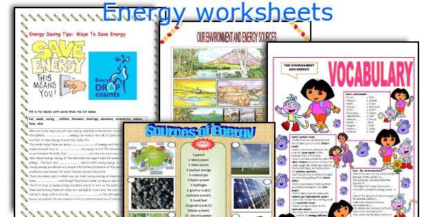 Energy resources worksheet pdf