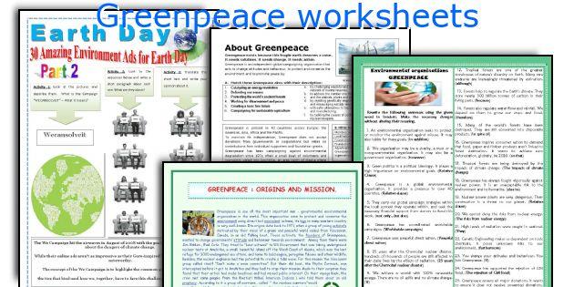 Greenpeace worksheets
