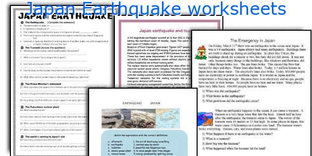 Japan Earthquake worksheets