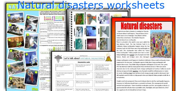 Natural disasters worksheets