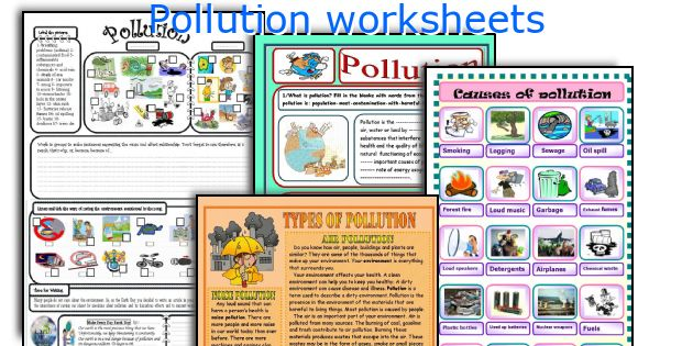 Pollution worksheets