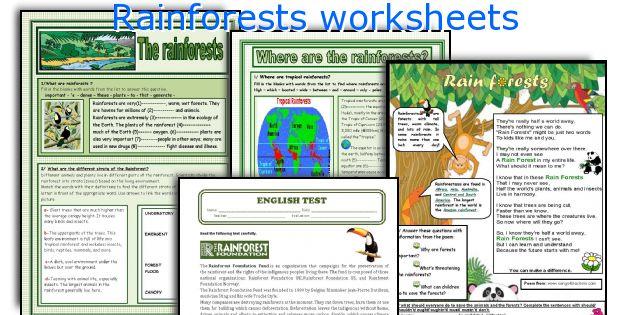 Rainforests worksheets
