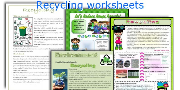 Recycling worksheets