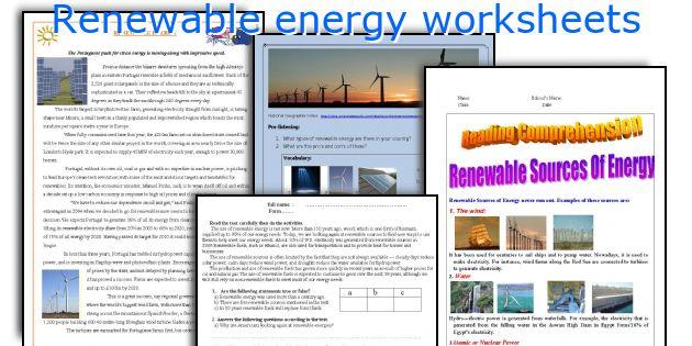 English teaching worksheets Renewable energy – Renewable Energy Worksheet