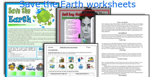 Save the Earth worksheets