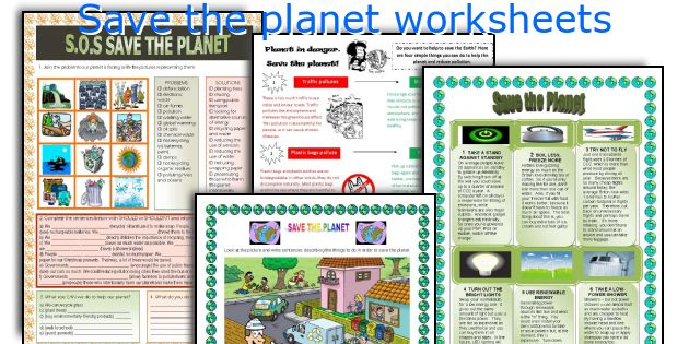 Save the planet worksheets