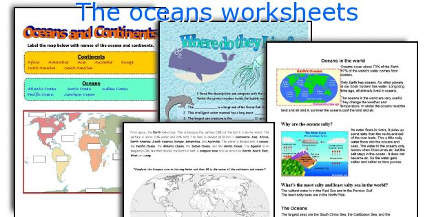 The oceans worksheets