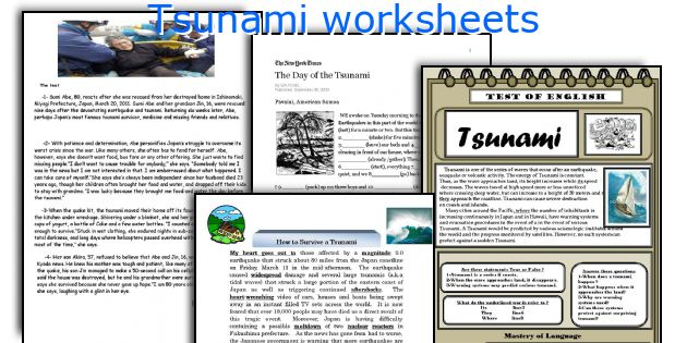 Tsunami worksheets