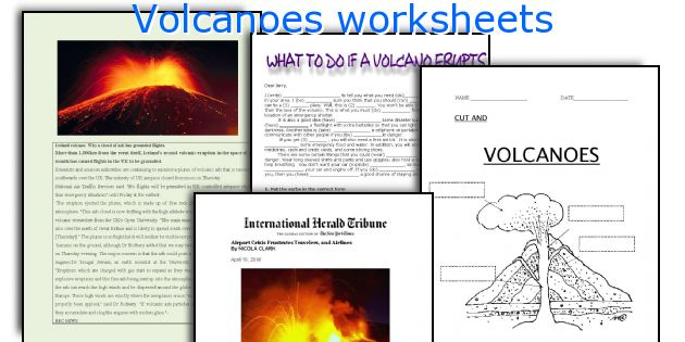 Volcanoes worksheets