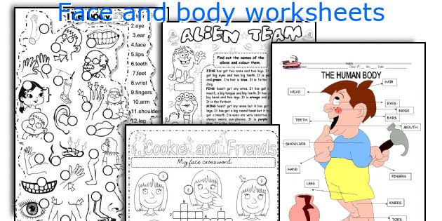 Face and body worksheets