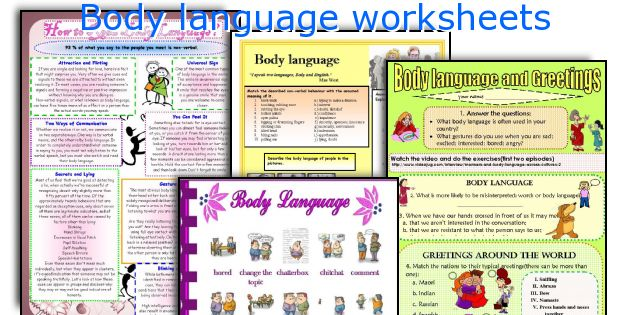 Body language worksheets