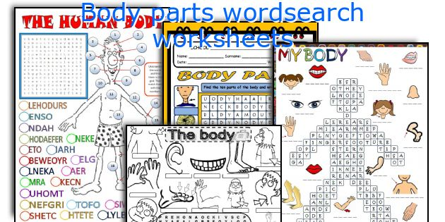 Body parts wordsearch worksheets