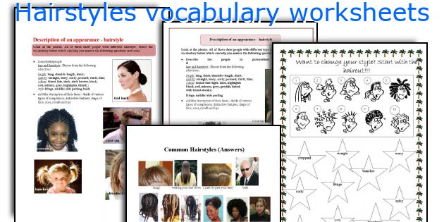 Hairstyles vocabulary worksheets