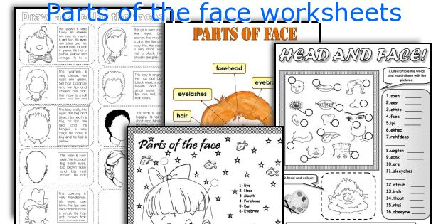 Parts of the face worksheets
