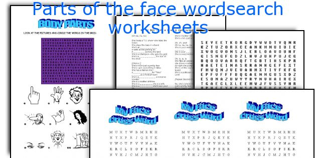Parts of the face wordsearch worksheets