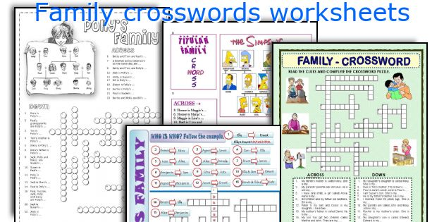 Family crosswords worksheets