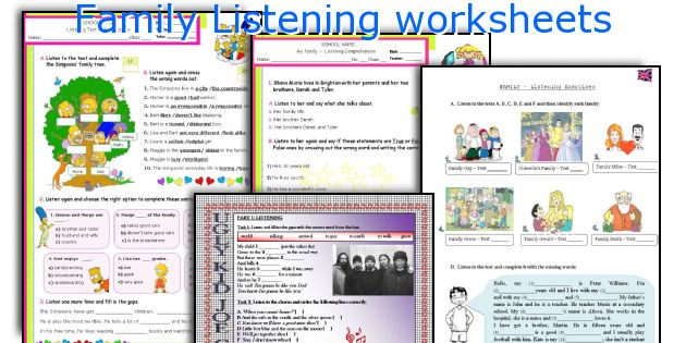 Family Listening worksheets