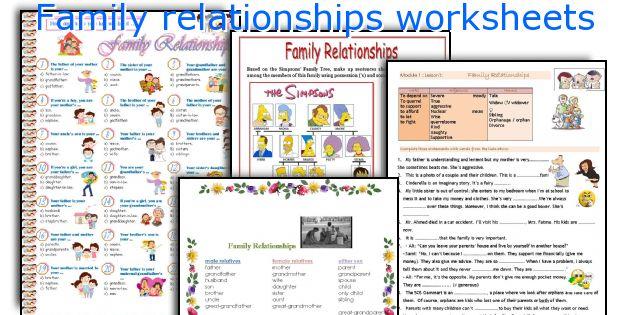 family relationships worksheets. Black Bedroom Furniture Sets. Home Design Ideas