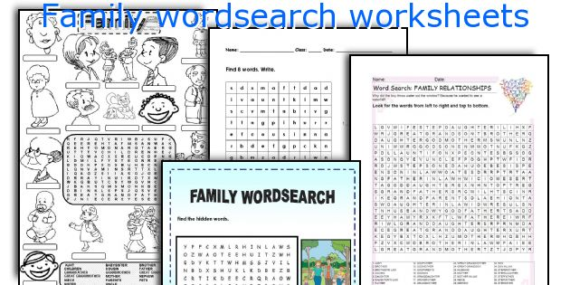 Family wordsearch worksheets