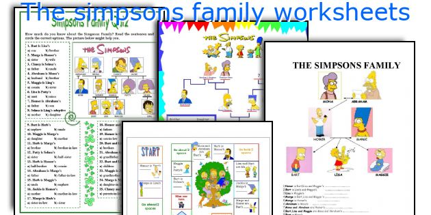 The simpsons family worksheets