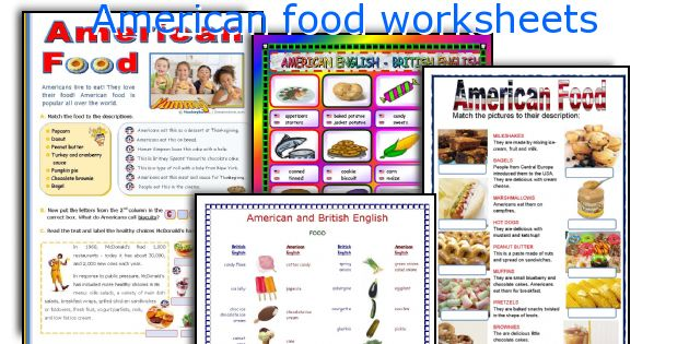 American food worksheets