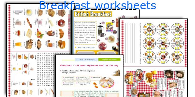 Breakfast worksheets