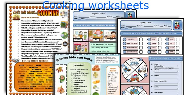 Cooking worksheets