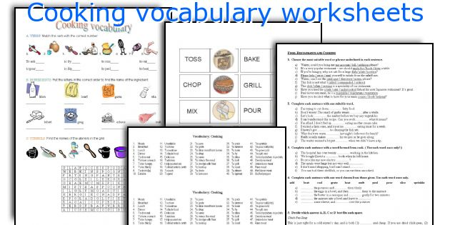 English teaching worksheets Cooking vocabulary – Basic Cooking Terms Worksheet