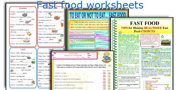 Fast food worksheets