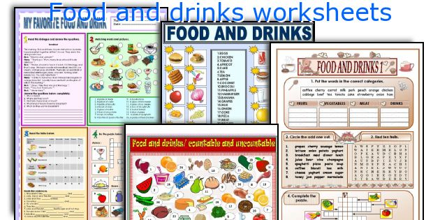 Food and drinks worksheets