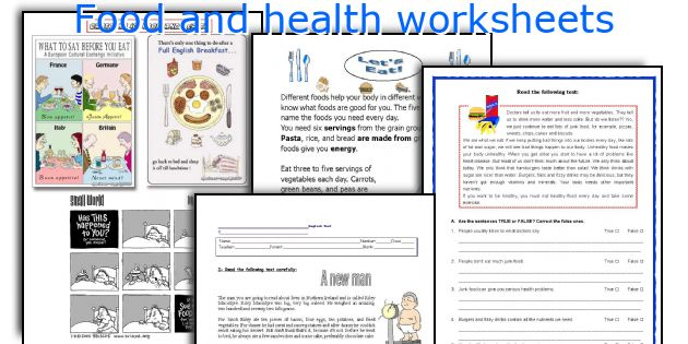 Food and health worksheets