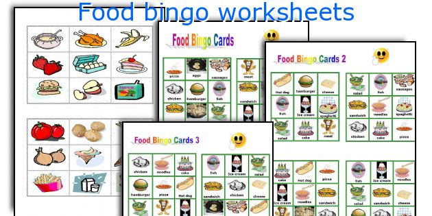 Food bingo worksheets