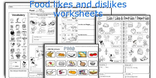 Food likes and dislikes worksheets